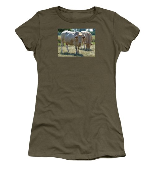 Women's T-Shirt (Junior Cut) featuring the photograph Two Cows by Jean Bernard Roussilhe