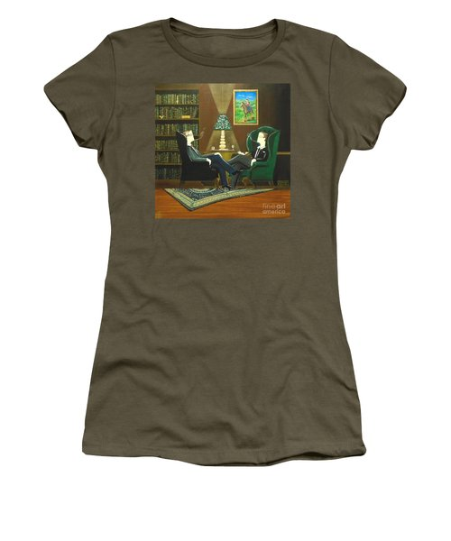 Two Gentlemen Sitting In Wingback Chairs At Private Club Women's T-Shirt (Athletic Fit)