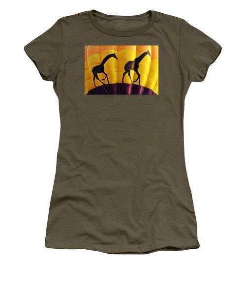 Two Giraffes Riding On A Hot Air Balloon Women's T-Shirt