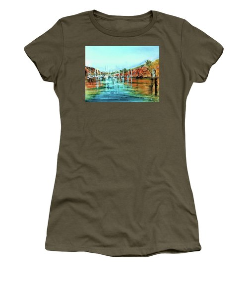 Two Harbors Catalina Morning Impressions Women's T-Shirt (Junior Cut) by Debbie Lewis
