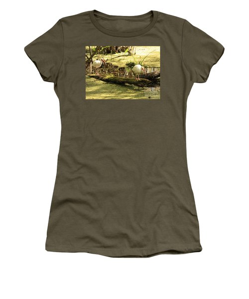 Two Ibises On A Log Women's T-Shirt (Junior Cut) by Carol Groenen