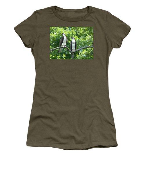 Two On A Limb - Osprey Women's T-Shirt (Junior Cut) by Donald C Morgan
