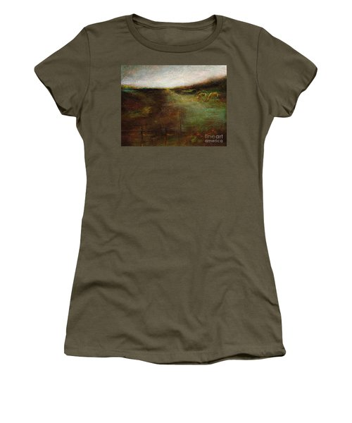 Women's T-Shirt (Junior Cut) featuring the painting Two Palominos by Frances Marino
