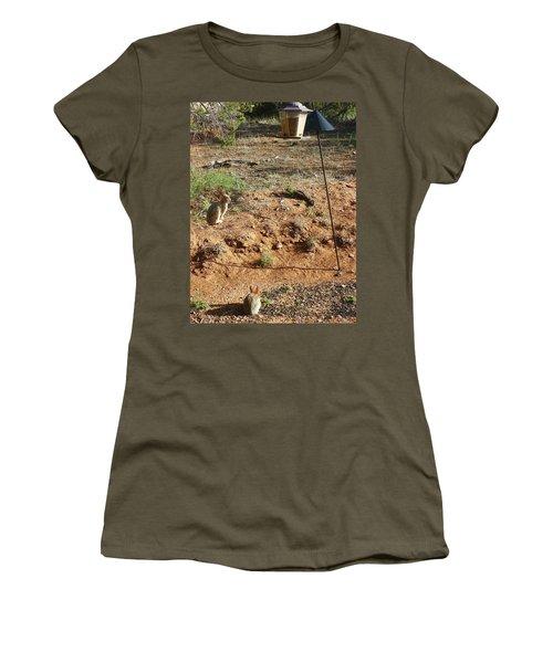 Women's T-Shirt (Junior Cut) featuring the photograph Two Rabbits And Bird Feeder by Joseph Frank Baraba