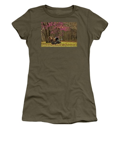 Two Tom Turkey And Redbud Tree Women's T-Shirt (Junior Cut) by Sheila Brown