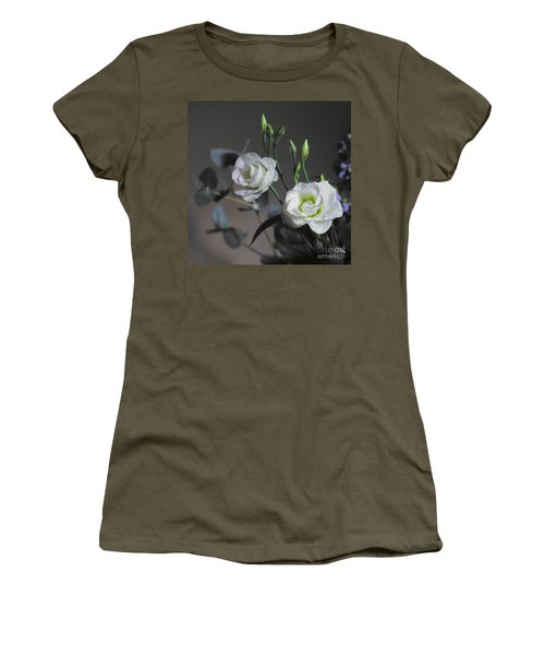 Women's T-Shirt featuring the photograph Two White Roses by Jeremy Hayden