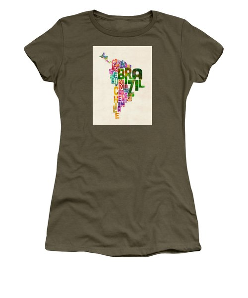 Typography Map Of Central And South America Women's T-Shirt (Junior Cut) by Michael Tompsett