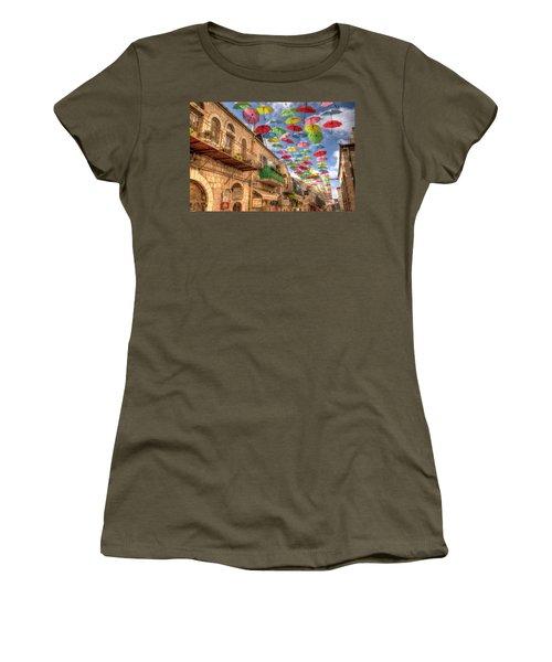 Women's T-Shirt (Junior Cut) featuring the photograph Umbrellas Over Jerusalem by Uri Baruch