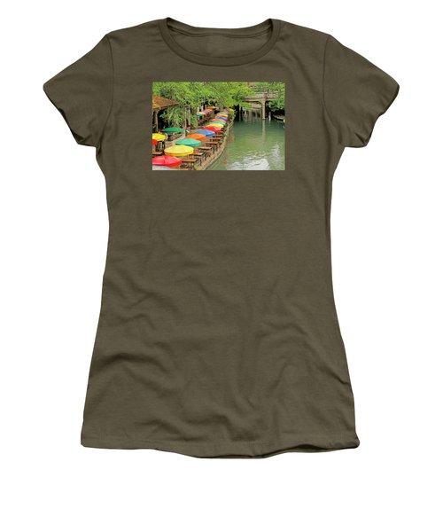 Women's T-Shirt (Junior Cut) featuring the photograph Umbrellas Along River Walk - San Antonio by Art Block Collections