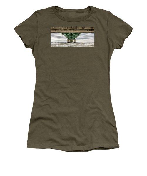 Women's T-Shirt (Junior Cut) featuring the photograph Under Mackinac Bridge Winter by John McGraw