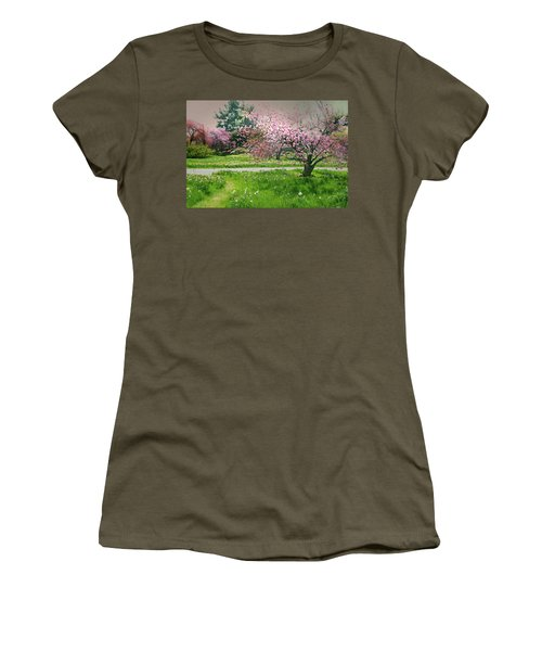 Women's T-Shirt (Junior Cut) featuring the photograph Under The Cherry Tree by Diana Angstadt