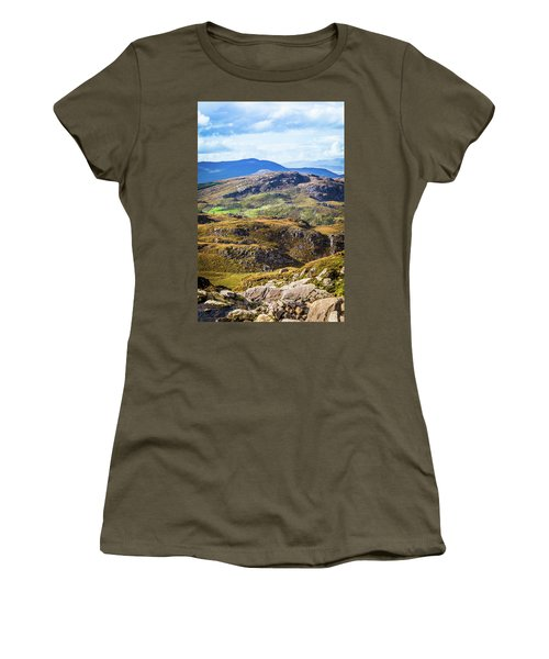 Undulating Green, Purple And Yellow Rocky Landscape In  Ireland Women's T-Shirt (Junior Cut) by Semmick Photo