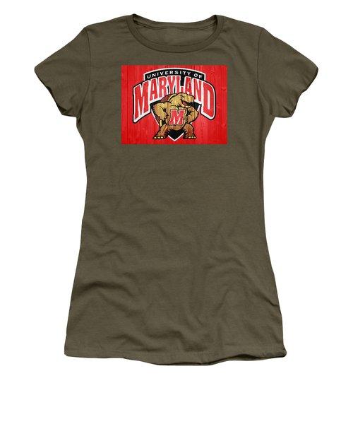 Women's T-Shirt featuring the digital art University Of Maryland Barn Door by Dan Sproul