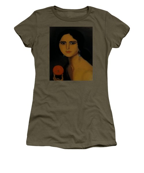 Untitled Woman With Orange Women's T-Shirt (Athletic Fit)