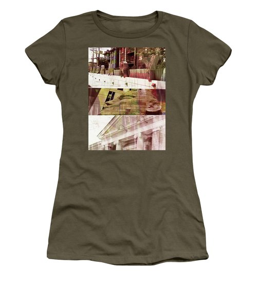 Women's T-Shirt (Junior Cut) featuring the photograph Uptown Library With Color by Susan Stone