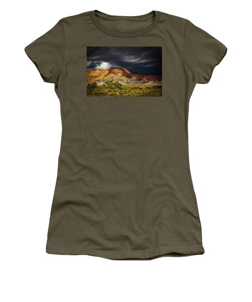 Women's T-Shirt (Junior Cut) featuring the photograph Utah Mountain With Storm Clouds by John A Rodriguez