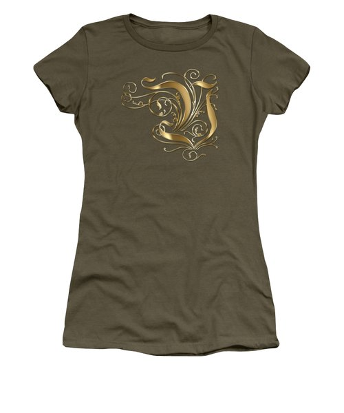 V Golden Ornamental Letter Typography Women's T-Shirt