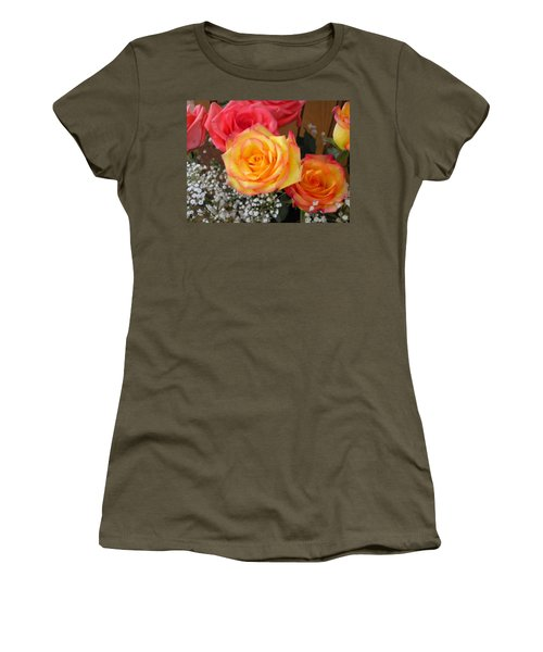 Women's T-Shirt (Junior Cut) featuring the painting Valentine's Day Roses 2 by Renate Nadi Wesley