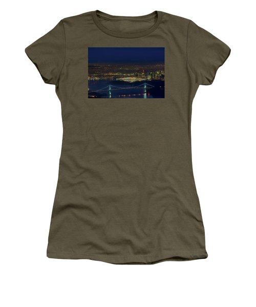 Vancouver Bc Cityscape By Lions Gate Bridge Women's T-Shirt (Athletic Fit)