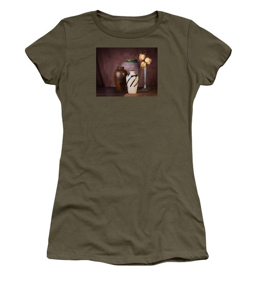 Vase And Roses Still Life Women's T-Shirt (Athletic Fit)