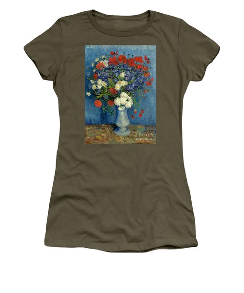 Vase With Cornflowers And Poppies Women's T-Shirt