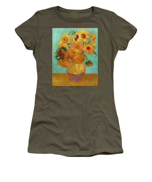 Women's T-Shirt featuring the painting Vase With Twelve Sunflowers by Van Gogh