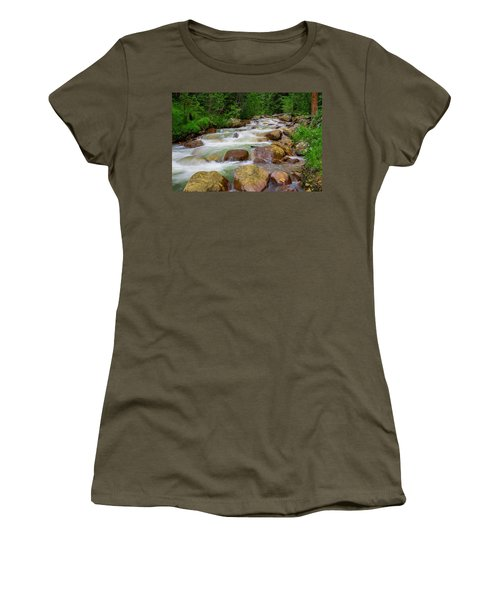 Women's T-Shirt (Junior Cut) featuring the photograph Velvet Green Forest by Tim Reaves