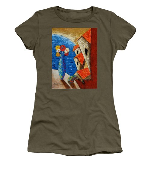 Women's T-Shirt featuring the painting Ventana Al Mar by Oscar Ortiz