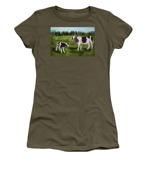 Women's T-Shirt (Junior Cut) featuring the painting Vermont Cow And Calf by Donna Walsh