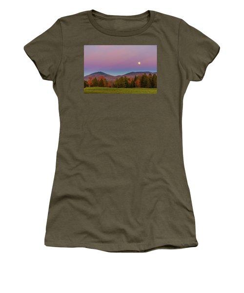 Vermont Fall, Full Moon And Belt Of Venus Women's T-Shirt (Junior Cut) by Tim Kirchoff