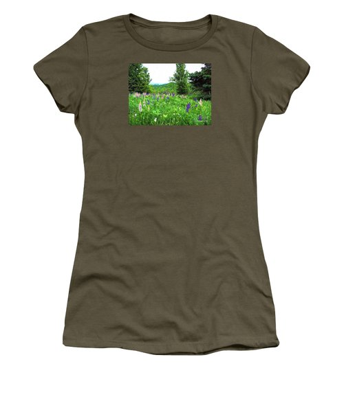 Women's T-Shirt (Junior Cut) featuring the painting Vermont Lupine by Mim White