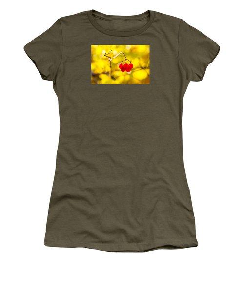 Women's T-Shirt (Junior Cut) featuring the photograph Viburnum Berries - Natural Olympic Emblem by Alexander Senin
