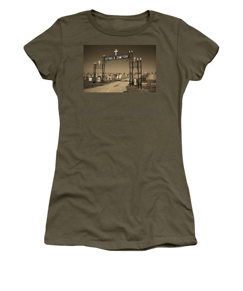 Women's T-Shirt (Junior Cut) featuring the photograph Victoria, Kansas - St. Fidelis Cemetery Sepia by Frank Romeo