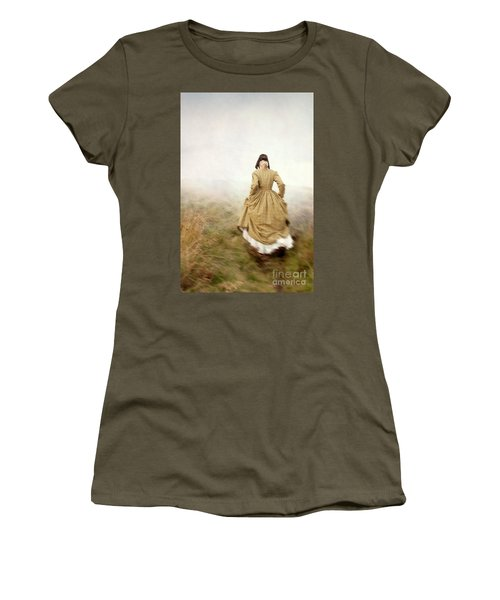 Victorian Woman Running On The Misty Moors Women's T-Shirt (Athletic Fit)