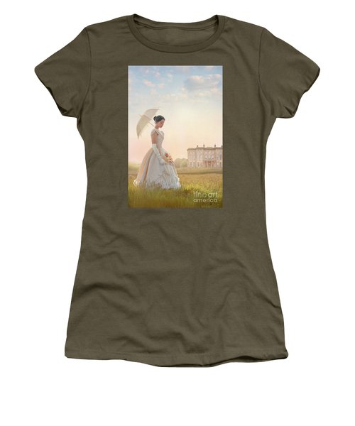 Victorian Woman With Parasol And Fan Women's T-Shirt (Athletic Fit)