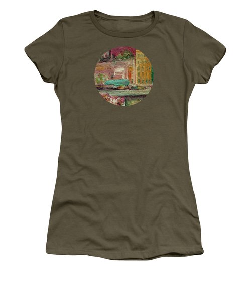 Women's T-Shirt (Junior Cut) featuring the painting View From A Balcony by Mary Wolf