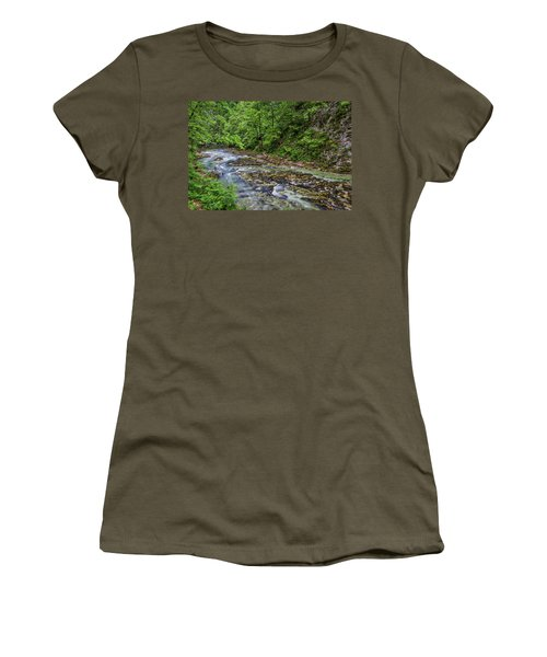 Women's T-Shirt (Athletic Fit) featuring the photograph View In Vintgar Gorge - Slovenia by Stuart Litoff