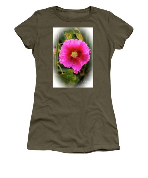 Vigenetted Hollyhock Women's T-Shirt