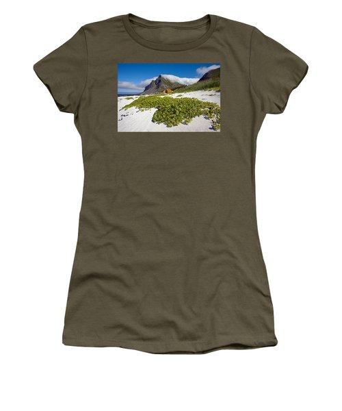 Vikten Beach With Green Grass, Mountains And Clouds Women's T-Shirt
