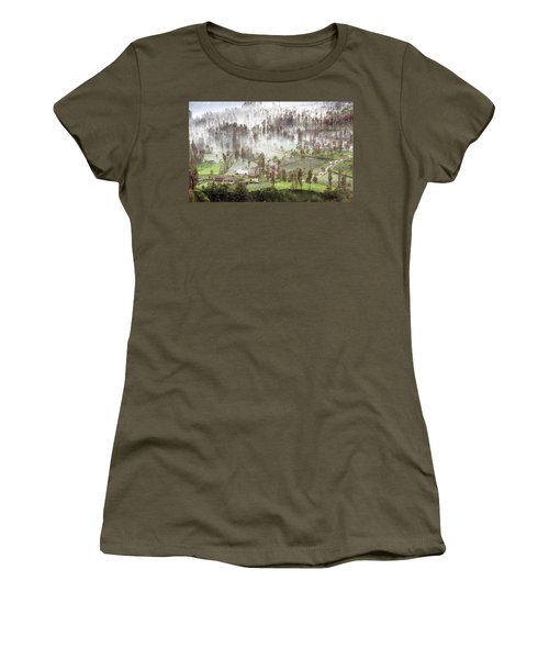 Women's T-Shirt featuring the photograph Village Covered With Mist by Pradeep Raja Prints