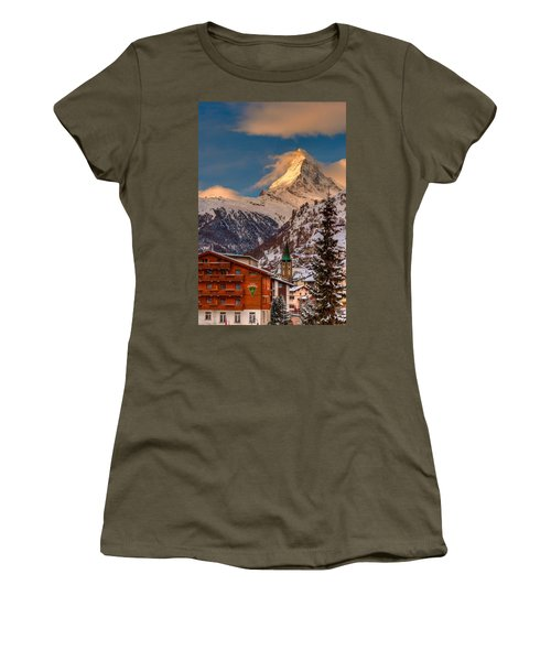 Village Of Zermatt With Matterhorn Women's T-Shirt