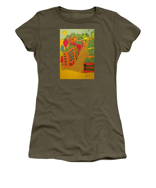 Village With Blue Sliver Moon Women's T-Shirt