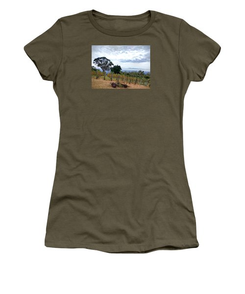 Women's T-Shirt (Junior Cut) featuring the photograph Vineyard Over The City by Haleh Mahbod