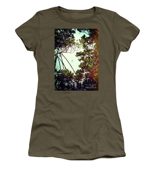 Women's T-Shirt (Athletic Fit) featuring the digital art Vintage Banana Spider by Megan Dirsa-DuBois