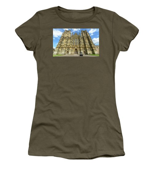 Women's T-Shirt featuring the photograph Vintage Car Parked In Front Of Wells Cathedral by Jacek Wojnarowski