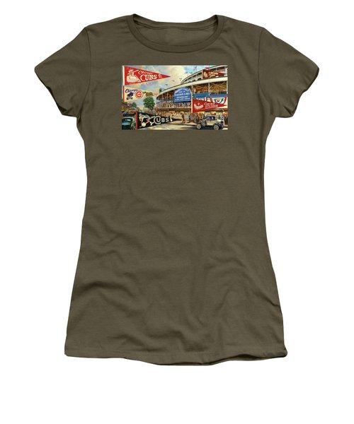 Vintage Chicago Cubs Women's T-Shirt (Junior Cut) by Steven Parker