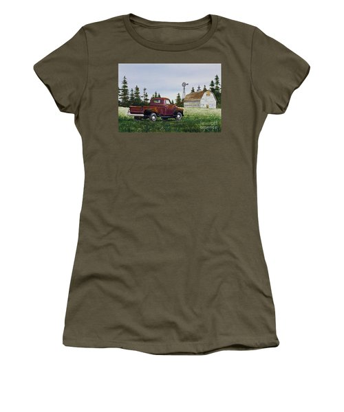 Women's T-Shirt (Junior Cut) featuring the painting Vintage Country Pickup by James Williamson