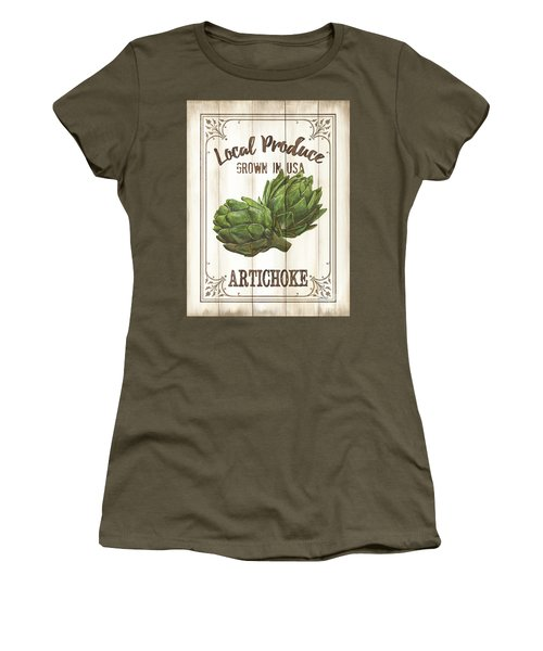 Women's T-Shirt (Junior Cut) featuring the painting Vintage Fresh Vegetables 2 by Debbie DeWitt