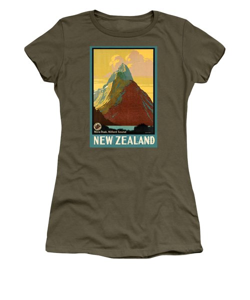 Vintage New Zealand Travel Poster Women's T-Shirt (Junior Cut) by George Pedro