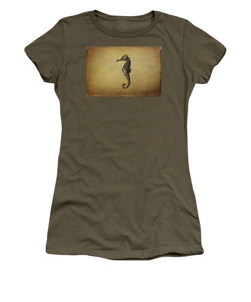 Vintage Seahorse Illustration Women's T-Shirt (Junior Cut) by Peggy Collins